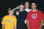 Lance Armstrong posing with some BMX riders who were staying in the same hotel after the BMX Worlds 2004